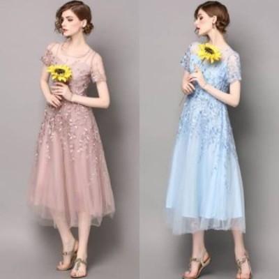 大きいサイズ パーティードレス 大きいサイズ ワンピース ドレス 半袖 ミモレ丈 ピンク ブルー 刺繍 フレア 10代 20代 30代 春