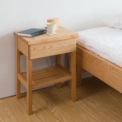 ナイトテーブル サイドテーブル ラック 引き出し 収納 2口 コンセント付 木製 栗 無垢材 クリア 36.5×37.5×50cm