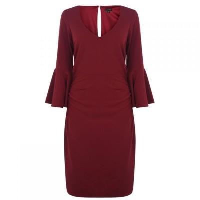 マリナ Marina レディース ワンピース Vネック ワンピース・ドレス v neck dress with bell sleeves Red