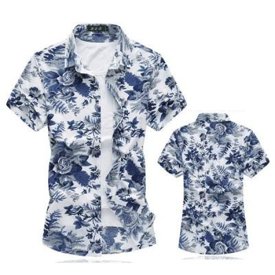 半袖シャツ メンズ カジュアルシャツ 花柄 アロハシャツ リゾートビーチ 大きいサイズ おしゃれ 夏