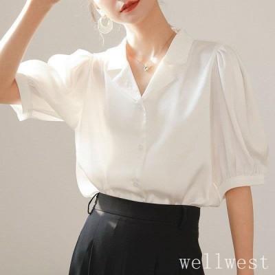 ブラウス レディース 40代 春夏新作 オシャレブラウス 白シャツ 五分袖トップス Vネックパフスリーブブラウス上品 大人 通勤OL ゆったりTシャツ 30代 50代