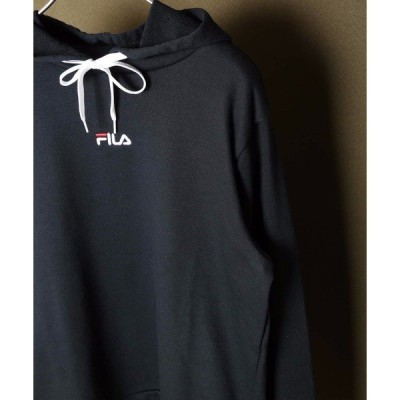 パーカー 【FILA フィラ】レディース 裏毛 プルオーバーパーカー / ロゴプリント ドロップショルダー  オーバーサイズ