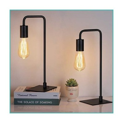 HAITRAL Modern Table Lamps - Bedside Nightstand Lamps Set of 2 for Bedroom, Living Room, Office, Black (Without Bulb)【並行輸入品】