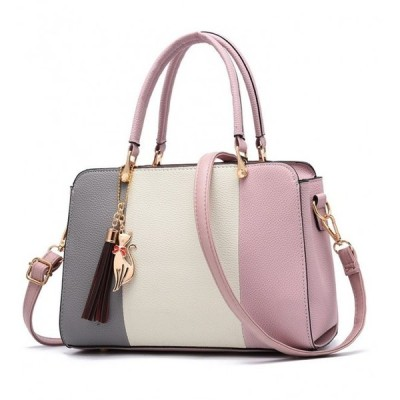 レディースバッグ  高級感 エレガント 配色 気質アップ アクセサリー付き ファッション マルチカラー ハンドバッグ