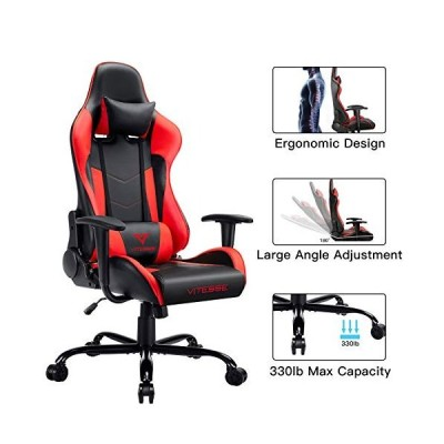 VIT Computer Gaming Chair Racing Style High-Back PC Chair Ergonomic Office Desk Chair Swivel E-Sports Leather Chair with Lumbar Support and Headrest (