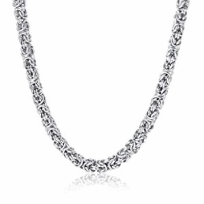 FIBO STEEL 6mm Stainless Steel Chain Necklace for Men Women Italian Byzantine Necklace 16-28 inches