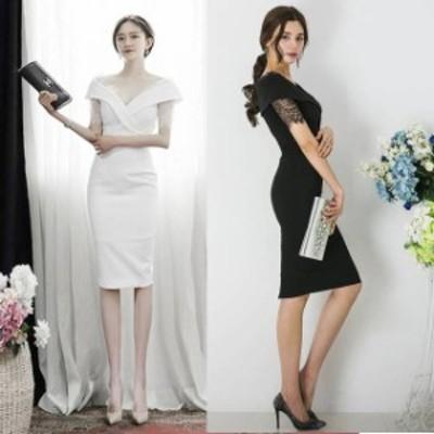 パーティードレス 結婚式 二次会 お呼ばれ ワンピース 袖あり お呼ばれドレス ドレス 20代 30代 40代 ひざ丈 スリム