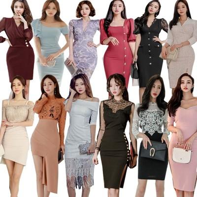「05/25 新作追加 Special Offer」 韓国ファッション OL、正式な場合、礼装ドレス セクシーなワンピース、一字肩 二点セット、側開、深いVネック やせて見える、ハイウエス 春夏