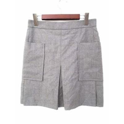【中古】ユマエストネーション UMA ESTNATION スカート 40 L 灰 グレー ウール ミニ 無地 シンプル レディース