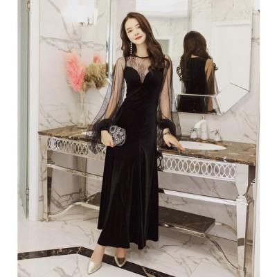 パーティードレス 韓国 黒 ロングドレス 黒 袖あり シースルー バルーンスリーブ セクシー シフォン ベルベット 結婚式 二次会 お呼ばれ