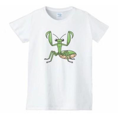 カマキリ レディース 動物 生き物 Tシャツ 白