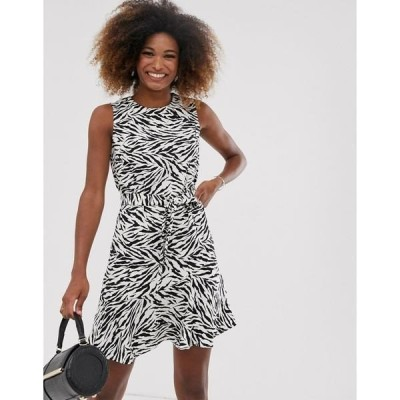 ウエアハウス レディース ワンピース トップス Warehouse dress with belt in zebra print Multi