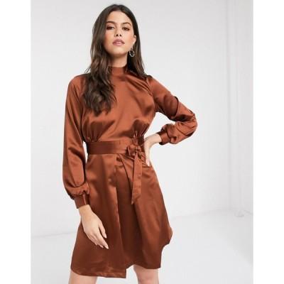 クローゼット ミディドレス レディース Closet high neck A line dress in brown エイソス ASOS ブラウン 茶