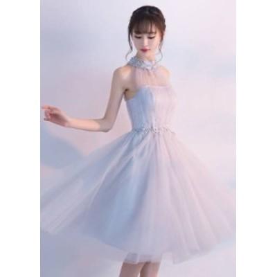 グレー レースアップ チュチュドレス シフォン 編み込み 綺麗 おしゃれ 可愛い 上品 清楚 デート 結婚式 二次会 お呼ばれ 女子会 記念日