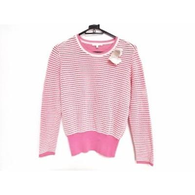 ポールカ PAULEKA 長袖セーター サイズS レディース 新品同様 白×ピンク【中古】20201031