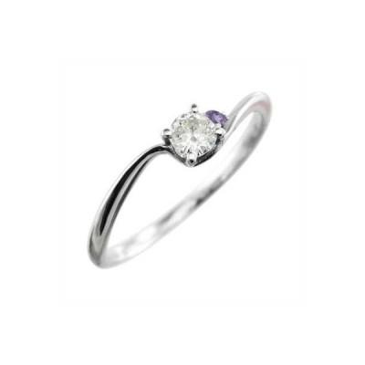18金ホワイトゴールド リング アメジスト(紫水晶) 天然ダイヤモンド