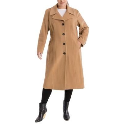 アンクライン コート アウター レディース Plus Size Single-Breasted Maxi Coat Camel