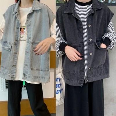 ベスト デニム レーディス  トップス ジャケット 春春秋 アウター シンプル ゆったり カジュアル ヴィンテージ 韓国ファッション