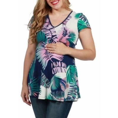 24セブンコンフォート レディース シャツ トップス Maternity Palm Leaf Short Sleeve V Neck Tunic Top