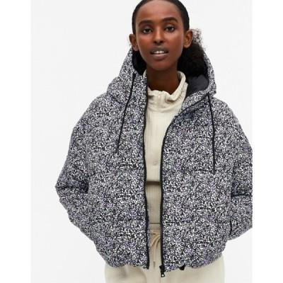 モンキ レディース ジャケット・ブルゾン アウター Monki Amber recycled short padded jacket with hood