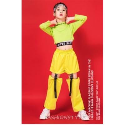子供服 キッズ 女の子 韓国子供服 トップス 長袖トップス パンツ 舞台服 ダンス衣装 ステージ服 蛍光色 単品