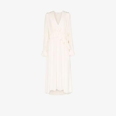 ヴィクトリア ベッカム Victoria Beckham レディース ワンピース ミドル丈 ワンピース・ドレス ruffle silk midi dress white