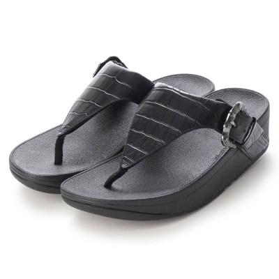 フィットフロップ fitflop LOTTIE CROCO TOE-THONGS (All Black)