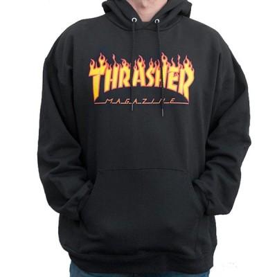 スラッシャー THRASHER/FLAME LOGO HOOD BLACK (L) フード