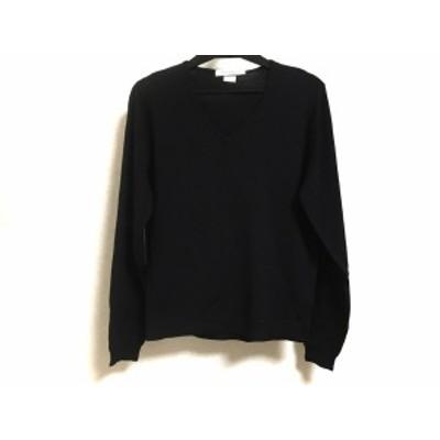 ジョンスメドレー JOHN SMEDLEY 長袖セーター サイズS レディース 美品 - 黒 Vネック【中古】20210201