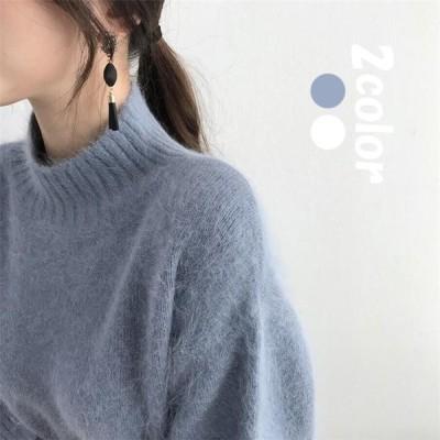 セーター ニット トップス レディース KLEXEMY27247 秋冬 40代 ハイネック 無地 大きいサイズ きれいめ もこもこ 暖かい 長袖セーター
