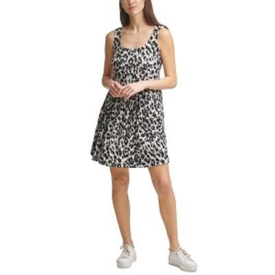 カルバンクライン レディース ワンピース トップス Leopard-Print A-Line Dress Black/Cream