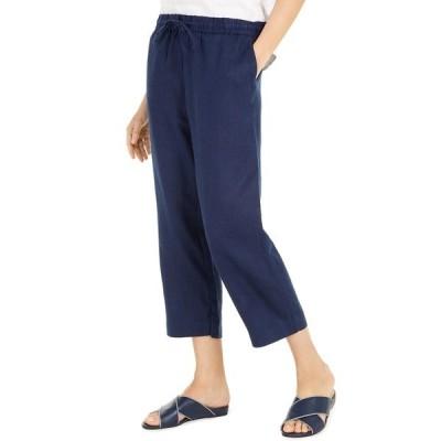 チャータークラブ カジュアルパンツ ボトムス レディース Linen Capri Tie-Waist Pants,  Intrepid Blue
