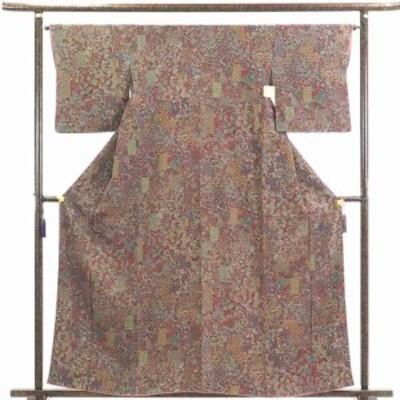【中古】リサイクル着物 小紋 / 正絹赤茶地花柄袷小紋着物 / レディース【裄Mサイズ】