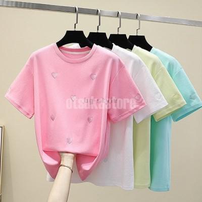tシャツ女性春夏モデル韓国版無地色カジュアルなコーディネート刺繍小さな愛半袖ゆったりした女性のtシャツ
