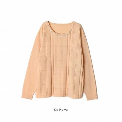 【30%OFF】格子柄編みビジュープルオーバー【LL―5L】(フルールバイミントブリーズ/fleur by mint breeze)