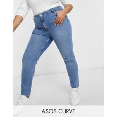 エイソス レディース デニムパンツ ボトムス ASOS DESIGN Curve mid rise vintage 'skinny' jeans in pretty midwash Midwash