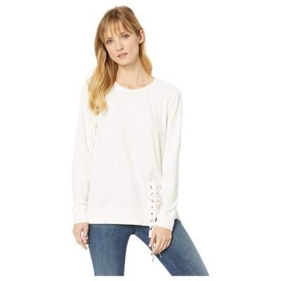 モッドドック レディース パーカー・スウェット アウター Velour Sweatshirt with Asymmetrical Lace-Up
