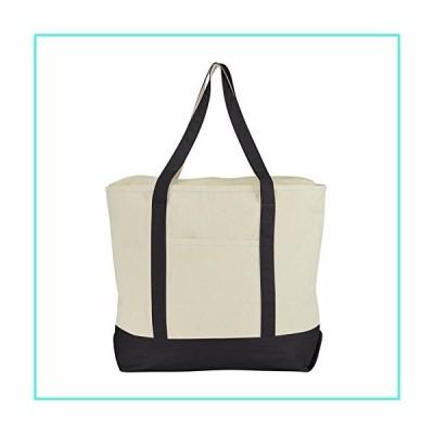 """【新品】ImpecGear 22"""" Deluxe Heavy Duty Zippered Cotton Canvas Tote Bag (PACK OF 4, Black)(並行輸入品)"""