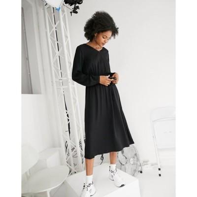 オンリー レディース ワンピース トップス Only long sleeve v neck midi dress in black