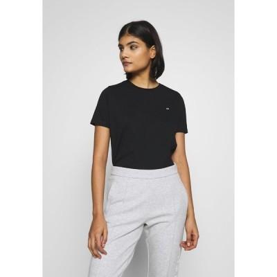 カルバンクライン Tシャツ レディース トップス SMALL LOGO EMBROIDERED TEE - Basic T-shirt - black