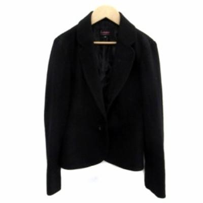 【中古】シェロー chereaux ジャケット テーラード シングル ショート丈 ウール 38 黒 ブラック /HO29 レディース