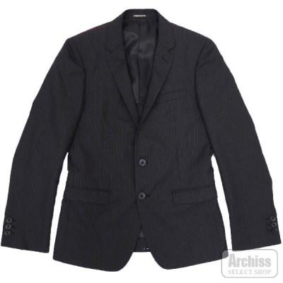 ニコル NICOLE HIDEAWAYS ジャケット 黒 ブラック オルタネイト ストライプ 背抜き 2ボタン 46サイズ メンズ 2165-2532-49 S42526