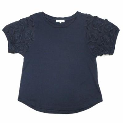 【中古】グローバルワーク GLOBAL WORK チュール 刺繍 切替 Tシャツ カットソー 半袖 丸首 L 紺 ネイビー レディース