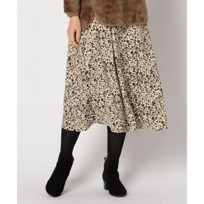 スカート 花柄前ボタンタックスカート