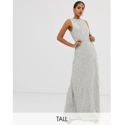 マヤ Maya Tall レディース ワンピース ワンピース・ドレス allover stripe embellished trophy maxi dress in soft grey Grey