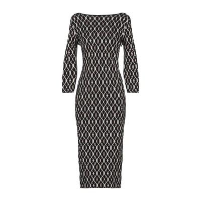 ELISABETTA FRANCHI 7分丈ワンピース・ドレス ブラック 46 レーヨン 50% / ポリエステル 40% / ナイロン 5% /