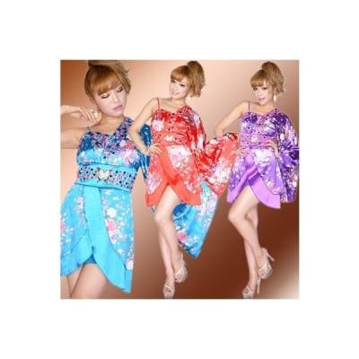 着物ドレス 0347バタフライブローチ付きワンショルミニ花魁着物ドレス7色展開