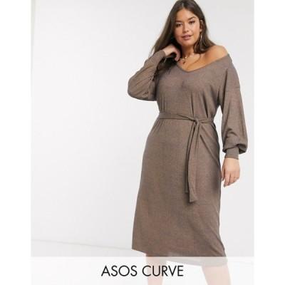 エイソス レディース ワンピース トップス ASOS Design Curve rib marl midi dress with belt