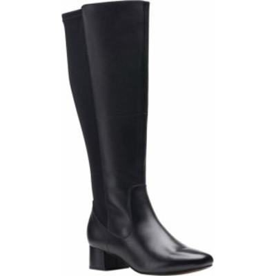 クラークス レディース ブーツ・レインブーツ シューズ Women's Clarks Marilyn Abby Wide Calf Knee High Boot Black Leather