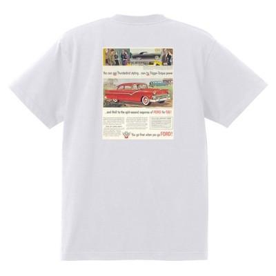 アドバタイジング フォード 891 白 Tシャツ 黒地へ変更可 1955 サンダーバード フェアレーン サンライナー ビクトリア フェアモント